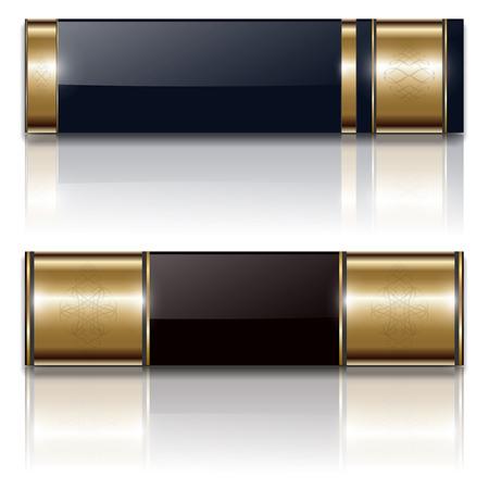 Banners, luxury metallic set, vintage backgrounds design, vector. Stock Vector - 8783475