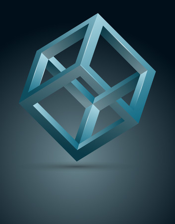 Abstracte achtergrond met 3D onmogelijke kubus, vectorillustratie.