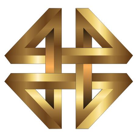 imagen corporativa: S�mbolo abstracto de logotipo de oro, objeto imposible, vector.