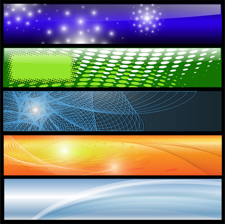 header label: Banners, headers colorful abstract set, vector.