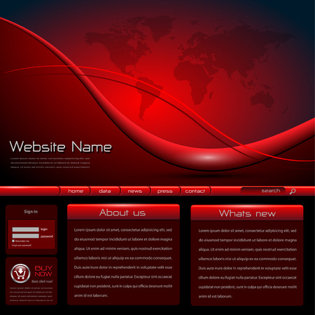 Website template red black  Stock Vector - 8890677