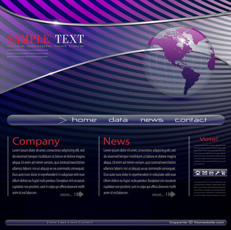 transparency: Website template transparency with earth globe  Illustration