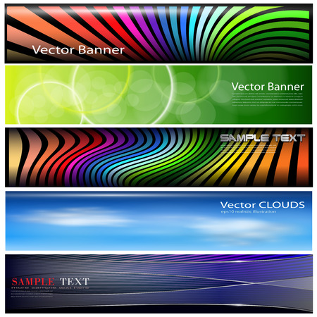 header label: Banners, headers colorful internet backgrounds collection, vector.