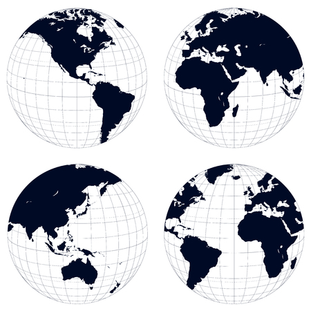 Earth globes, black and white detailed vector illustration. Vector