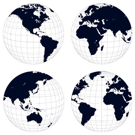 Globes de terre, noir et blanc détaillé illustration vectorielle.