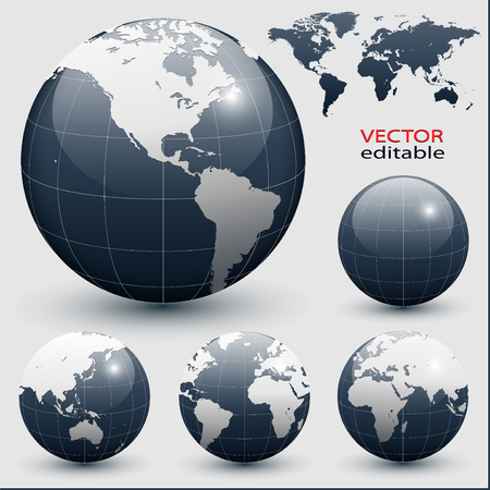 physical geography: Earth globes with detailed world map, vector. Illustration
