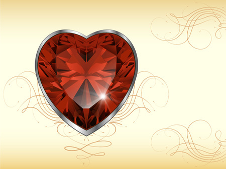 ruby gemstone: Romantic background with ruby heart, vector. Illustration
