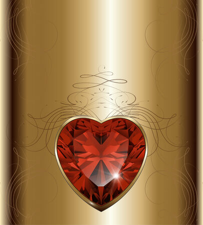 ruby: Luxury gold background with ruby heart, vector. Illustration