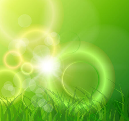 Abstract green background, sunny spring vector illustration. Vector