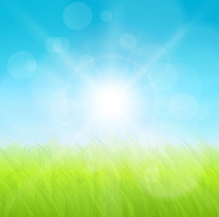 Abstract background, green grass and sun, vector illustration. Vector