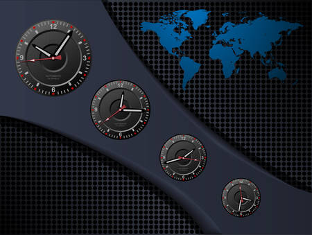 Business background with time zones, vector. Vector