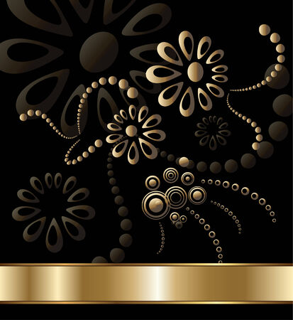 flora vector: Abstract flora background gold with black, vector illustration.