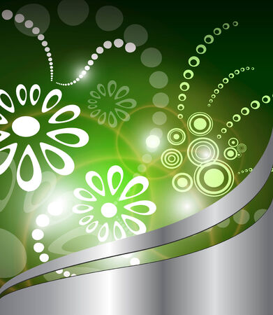 metallic  sun: Abstract background green with flowers, vector.