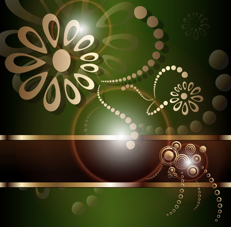 Vintage background with floral gold ornament at and sun shine, vector.