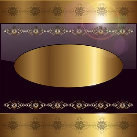 metallic banners: Abstract background gold banner on black, vector illustration. Illustration