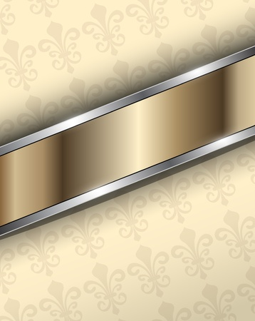 Abstract background beige with gold metallic, vector.