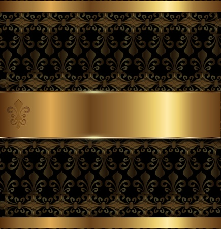 Vintage background gold with lily pattern, vector. Vector