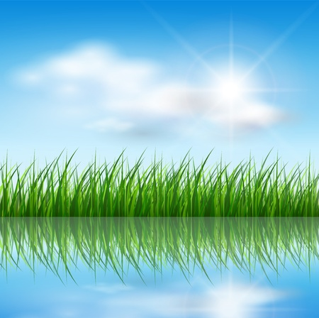 Nature background, green grass over blue sky, vector. Иллюстрация
