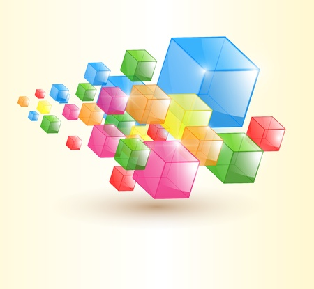 limpid: Abstract background, trasparent colorful glass cubes, vector.