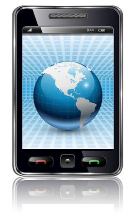 Mobile phone, smartphone with earth planet on screen, vector.