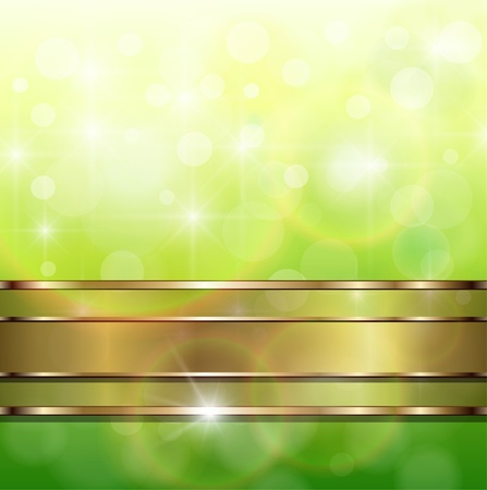 Abstract background, green lights with gold banner, vector. Vector