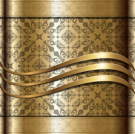 Background gold with floral ornaments, Vector