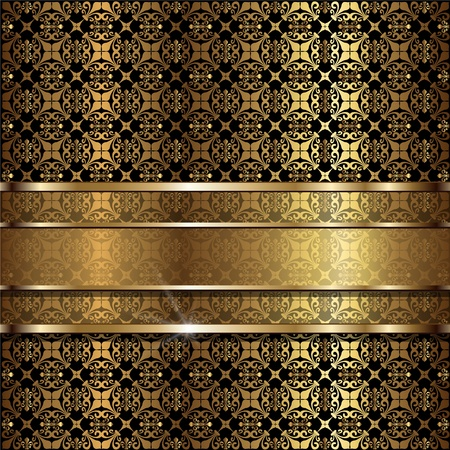 Abstract background gold with vintage ornaments, vector. Stock Vector - 9440975