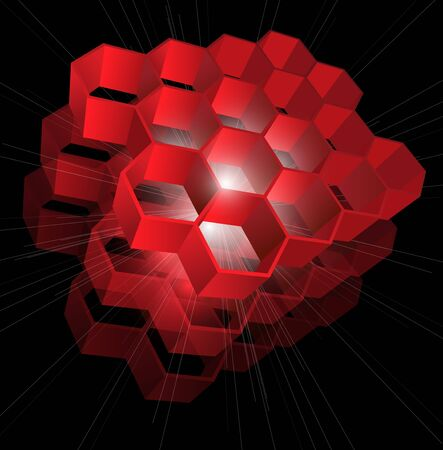 Abstract background red hexagons, vector.