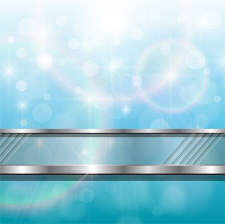 metallic  sun: Abstract background, blue lights with silver banner, vector.