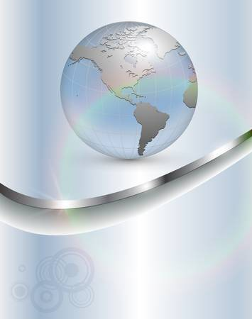 better: Abstract business background, light blue with earth and rainbow.
