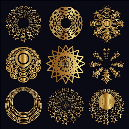 tiara: Design and caligraphic elements, gold ornaments for page decoration Illustration