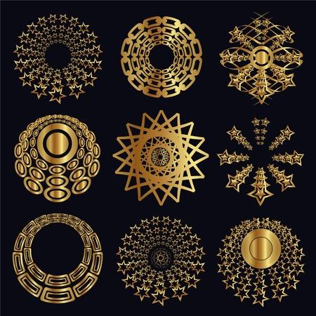 Elementi di design e calligrafico, ornamenti oro per la decorazione di pagina