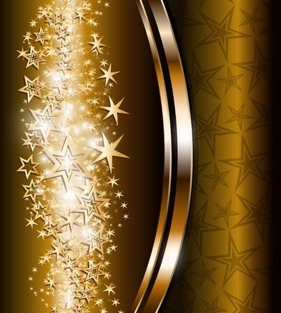 dorato: Elegante sfondo astratto con stelle d'oro