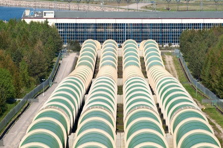 water pipes: Hydroelectric power station with great water pipes.