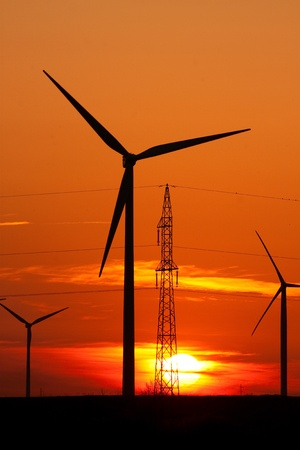 wind mill: Wind turbine farm over sunset