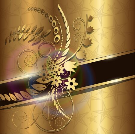 Abstract background gold with floral ornaments Vector