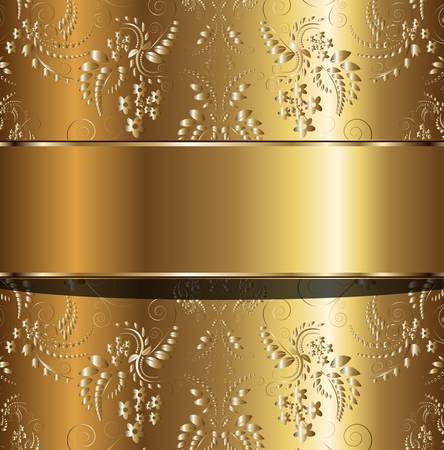 metallic banners: Abstract gold background with floral ornaments