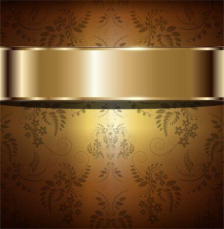金: 金背景ビンテージ花飾り