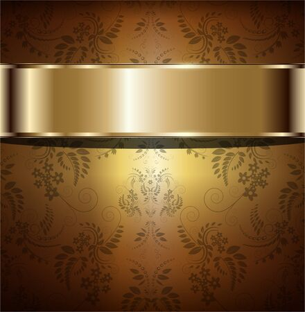 royal rich style: Gold background vintage with floral ornaments