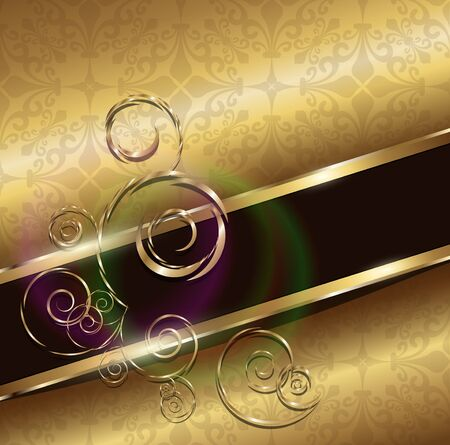 luxury template: Abstract background gold with floral ornaments