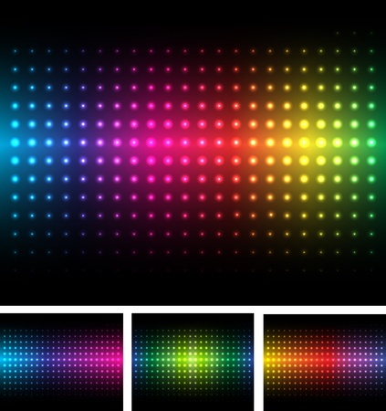 Abstract background colorful lights on black, vector. Illustration