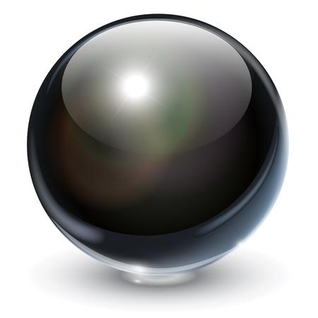 Black, glass sphere, vector illustration. Vector