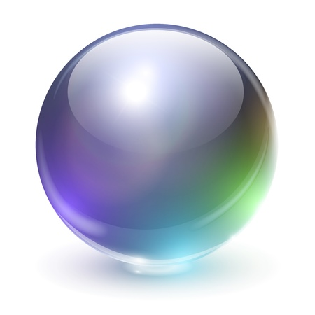 Glass, crystal sphere with rainbow colors, vector illustration.