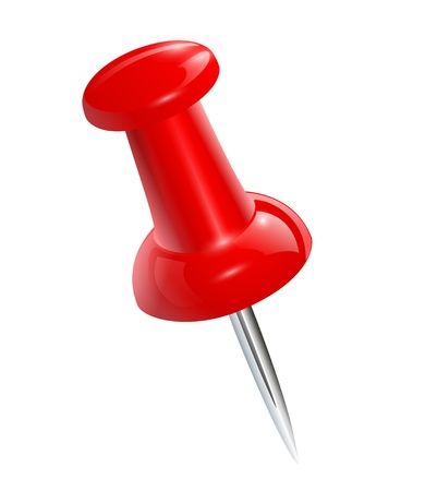 Rode push pins geïsoleerd, vector.