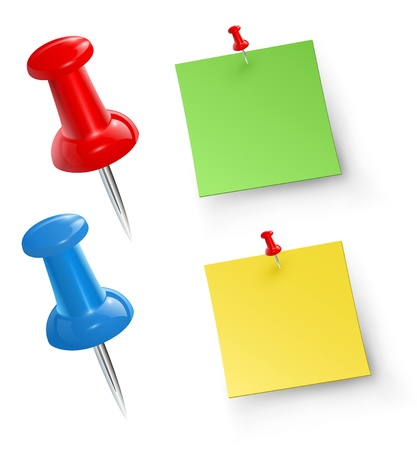 Push pins with note papers, vector.