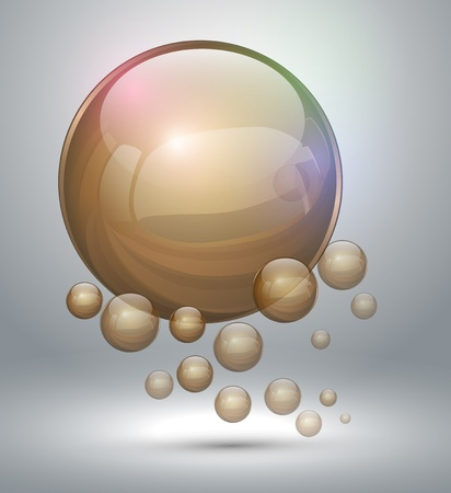 3d atom: Abstract background with gold bubbles, vector illustration.