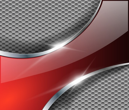 Abstract metallic background with glossy banner, vector.