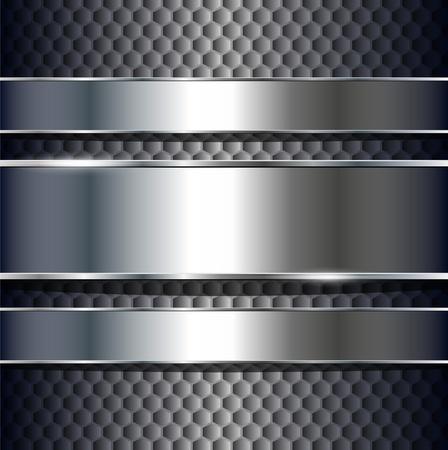 Fondo abstracto, banners plata metálicos, vector.