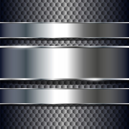 cromo: Fondo abstracto, banners plata met�licos, vector.