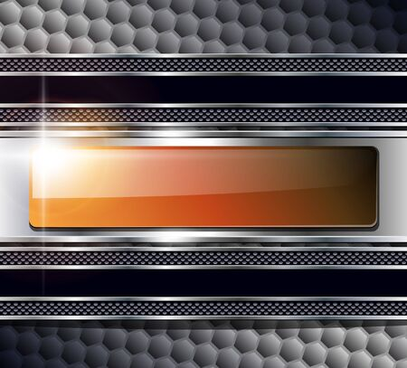 solid silver: Abstract background metallic with glossy banner, vector.